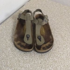 Birkenstock Gray Leather T Strap Sandals